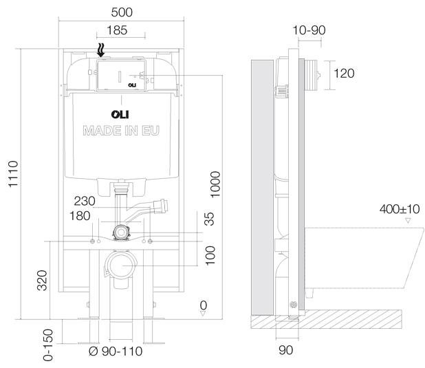 disegno-quotato-OLI74-Plus-Sanitarblock-S80-Happy-Air