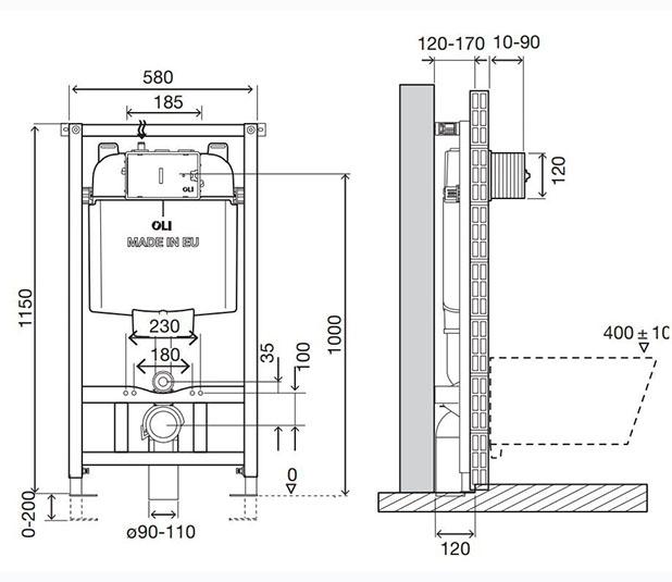 Dimensioned-Drawing-OLI74-Plus-Sanitarblock